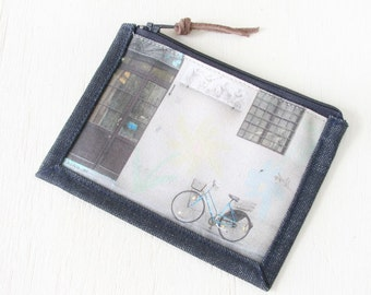 Zipper pouch, small or Large, Cotton, Denim, makeup bag, cosmetic bag, Italy, Bike, Firenze, Phone sleeve, coin purse