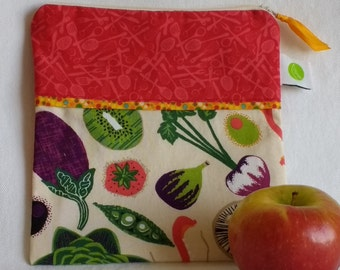 "Reusable Sandwich / Snack Bag - 7.5"" x 7.5""- Food safe PUL lined, Zippered, Machine Washable"
