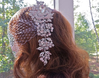 Bridal Comb Veil, Wedding Comb  Veil, Crystal Comb Veil, Rhinestone Comb Veil, White  Bridal Veil, Ivory Bridal Veil, White Birdcage Veil