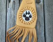 ON SALE Fringed medicine bag with beaded wolf totem , Leather medicine bag