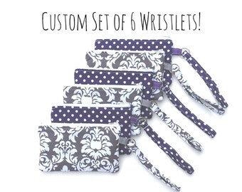 Custom Set of 6 Wristlets- You pick the fabrics! Bridesmaid Gift Idea, Wristlet, Clutch, Zipper Pouch, Bridal Party Gift