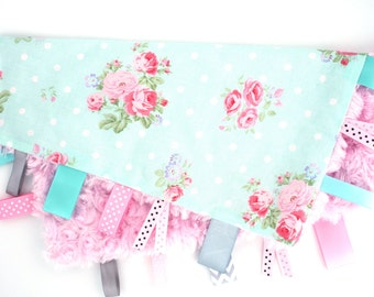 Personalized Tag Ribbon Minky Security Blanket-Aqua Dot and Rose Flowers