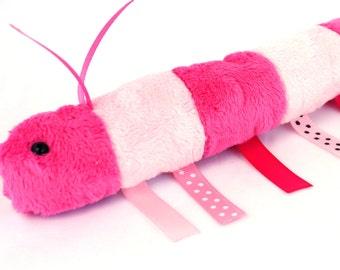 Wiggy Worm Caterpillar - Pink Plush Caterpillar- Caterpillar Stuffed Animal Cute Plush Toy Caterpillar Snuggle Worm Cuddly Minky Toy