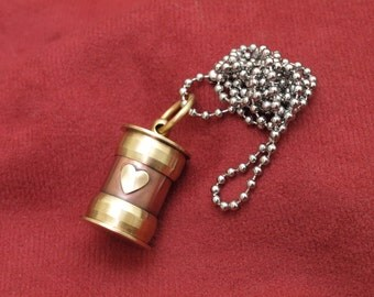 Cremation jewelry, antique style copper and brass ashes necklace