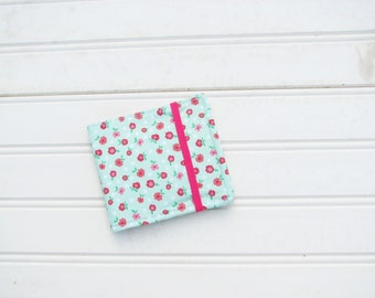 Mint and Pink Floral Bifold Small Womens Wallet