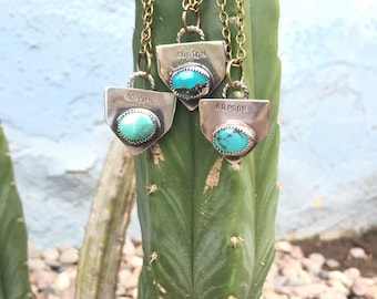 Custome Pendant Necklace/ Turquoise Pandant/ Sterling Silver Pendant/ Custom Stamped Necklace/ Turquoise Jewelry