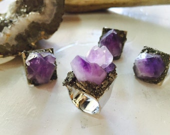 Raw Amethyst and Pryite Cocktail Ring/ Crushed Pyrite/ Natural Gem Stone/ Amethyst Ring/ Geode Ring/ Stone Ring/ Pyrite Ring/ Boho Jewelry