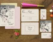 Romantic Wedding Invitation, Wedding Invitations, Art Deco Wedding Invitations, Boho Wedding, Save the Date, Gatsby Invitation, Stolen Kiss