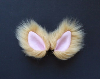 Small Tan and Pink Faux Fur Ears Cat Wolf Dog Fox Costume Halloween Cosplay