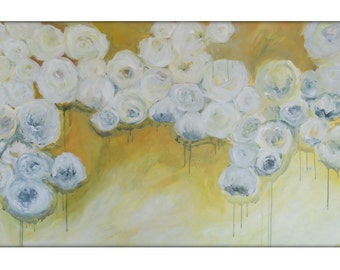 Large Abstract Original Flower Painting on Canvas Modern Acrylic Painting - 30x48 -Yellow, Gold, Blue, Cream, White