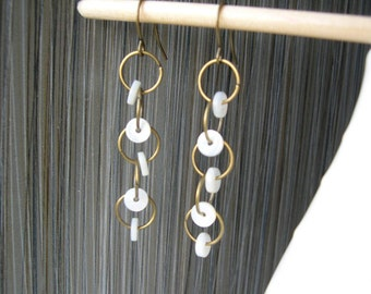 Mother of Pearl Earrings, Bridal Jewelry, Long, Brass, Gold Toned, Cream, Dangle, Off White, Modern, Wedding, Contemporary, Drop
