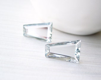 Clear Glass Earrings - Bridal Jewelry, Silver, Titanium Posts, Modern, Geometric, Trapezoid, Simple, Wedding, Vintage Swarovski Components