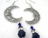 Blue Moon Wiccan Jewelry for Wife Celestial Jewelry Swarovski Crescent Moon Jewelry Swarovski Pagan Earrings for Girlfriend Wicca