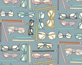 Glasses and Pencil Fabric - Type from Windham Fabrics - Full or Half Yard Eyeglasses and Pencils on Light Blue - Pink, Turquoise Glasses