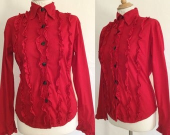Vintage 80s / Red / Tuxedo / Long Sleeve / Top / Blouse / Small / Medium