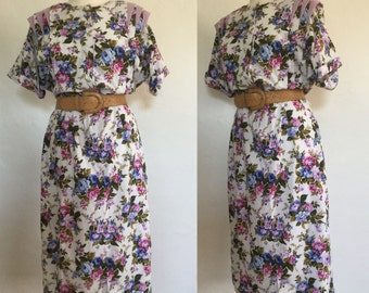 Vintage 80s / Ms Basia of California / Floral / Rose Print / Purple / Pink / Short Sleeve / Garden / Easter / Day Dress / Large