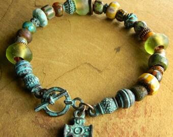 Tribal Jewelry Bracelet Mykonos Cross Charm Paradise Beach Collection