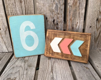 Hand painted wood sign number personalized photo prop gift home decor family wedding number sign