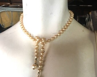 Vintage Faux  Pearl Lariat Claspless Necklace Tie On Pearl Necklace Vintage Bride Bridal Jewelry