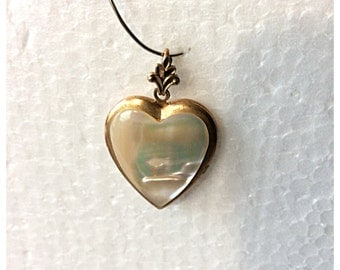 Vintage Mother of Pearl Heart Pendant