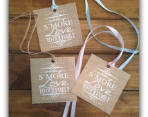 """Smore (s'more) love to our family burlap baby shower favor tag 3"""" x 3"""" - Instant download Printable - Burlap sm5028  DIY (1- PDF file)"""