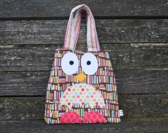 Owl Purse Kids Tote Owl Tote Little Girls Tote Girls Purse Book Bag Handmade Toddler Mini Tote