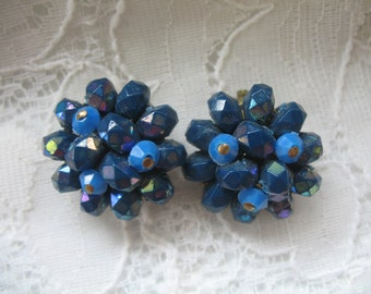Vintage Cluster Earrings ~ Clip On ~ AB Royal Blue & Blue Plastic Beads