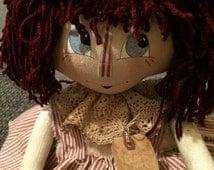 Handmade Primitive Raggedy Ann Doll