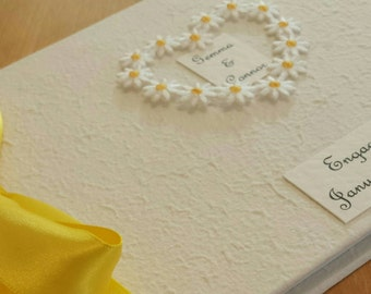 Personalized Daisy Heart Engagement Party Guest Book