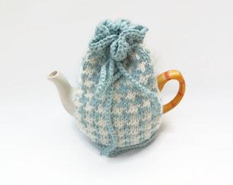 tea cozy hand knitted tea pot  duck egg blue and cream