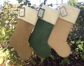 Three Personalized Christmas Stockings, Burlap Christmas Stockings, with tags