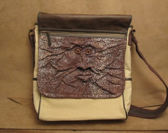 """Grichels canvas and leather messenger/shoulder laptop bag- """"Thoghan"""" 24327 - spotted brown with rusty brown slit pupil fox eyes"""