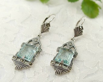 Vintage marcasite earrings with paste aquamarine in Art Deco style  || МАРКАЗИТ 556