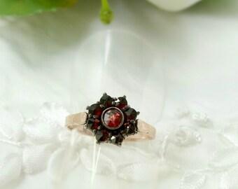 Cute Bohemian garnet round ring || ГРАНАТ