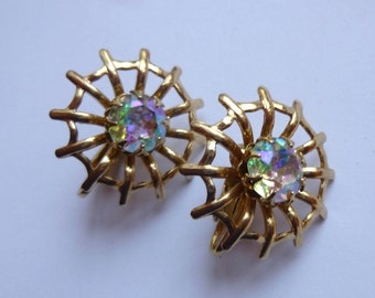 Vintage Spider Web Gold Tone Clip Earrings With Sparkly Aurora Borealis Rhinestone