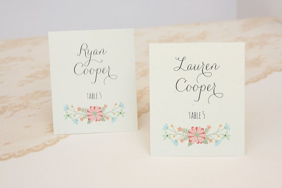 Wedding Place Cards In Rustic Floral Design With Printed Guest Names