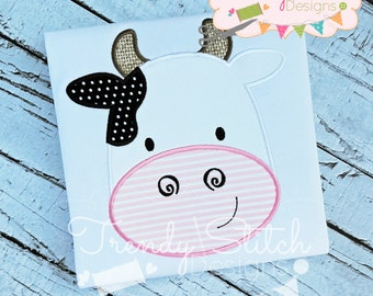 Cow Face Applique Design Machine Embroidery Design INSTANT DOWNLOAD