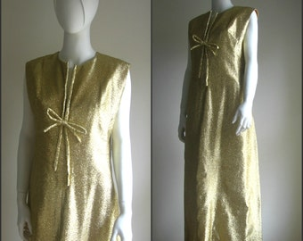 60s vintage gold long maxi dress handmade
