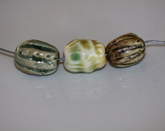 Ceramic Beads chunky clay beads handmade Beads porcelain  beads art beads  earthy tribal beads artisan beads bead supplies potterygirl