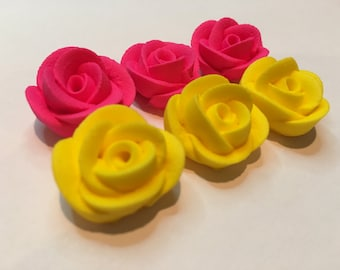 Lot of 100 mini roses hot pink and yellow