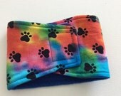 Absorbent, Waterproof,  Washable, Reusable Belly Band - Male Dog Diaper -Tie Dye with Paw Prints - Available in all Sizes