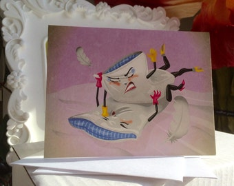 Pillow Fight Blank Greeting Card
