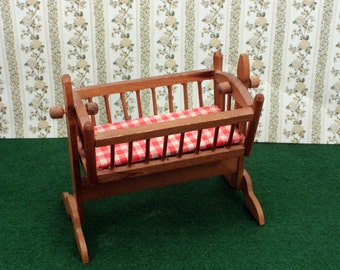 Miniature Baby Cradle Crib Dollhouse Bed Colonial Dollhouse Nursery Red Gingham Mattress