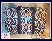 Navy Trellis Large Organizer Tote Bag, Teacher Bag, Nurse Bag , Nurse Tote, Daiper Bag, Utility Organizer