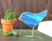 Light Turquoise Bird Suncatcher Fun Stained Glass Chick Ornament Nature Lover Gift Idea Handmade in Canada