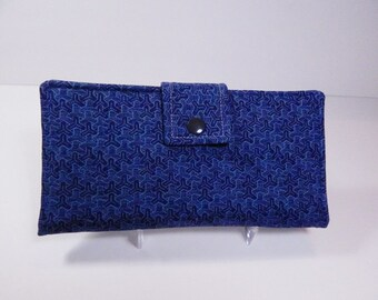 Blue Womans Wallet, Modern Wallet, Bifold, Indigo Blue Clutch Wallet, Made in USA