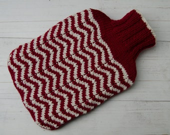 Hot Water Bottle Cover knitted in red and cream chevron stripes