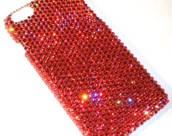 For iPhone 5 5S - Padparadscha / Peach - Rhinestone BLING Back Case handmade with 100% Crystals from Swarovski