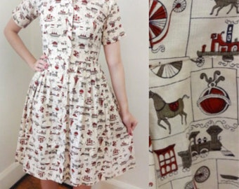 Vintage Ecru 1950s Dress Novelty Print Shirtwaist Dress Vehicles - Small