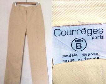 Vintage 1960s COURREGES camel denim straight leg jeans / authentic French designer beige high-waisted mod pants - small 28 30